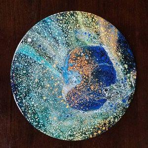 Liquid Pour Vinyl Record Wall Art Orange/Blue